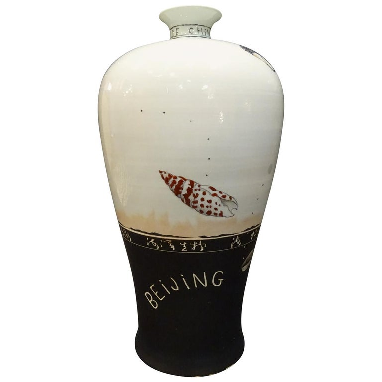 20th Century Great Black and White French Vase by Fabienne Jouvin For Sale