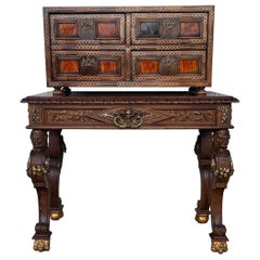 20th Italian Cabinet on Stand, Baroque Bargueno with Inlays & Mounts