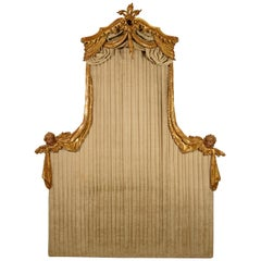 20th Century Italian Carved and Gilded Wood Canopy Bed Head