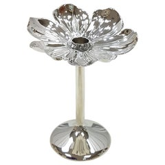 20th Century Italian Silver 800 Candlestick Flower Shape