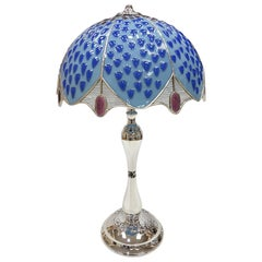20th Italian Century Sterling Silver Table Lamp with Polychrome Glass Hat