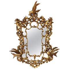 20th Italian Large Giltwood Carved Eagles Mirror