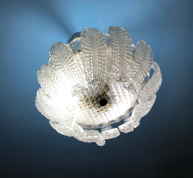 20th century Italian Murano glass chandelier with 12 leaves and three lights