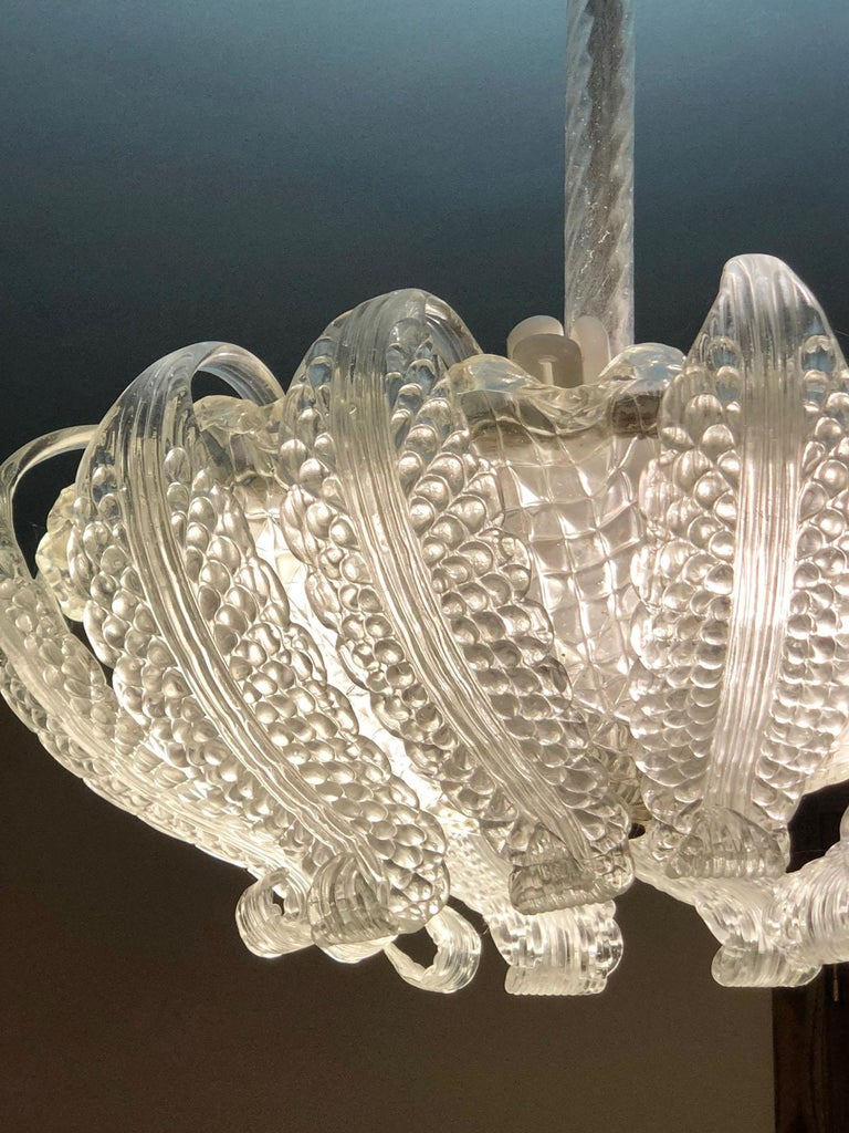 20th Century Italian Murano Glass Chandelier with 12 Leaves and Three Lights In Good Condition For Sale In Buggiano, IT