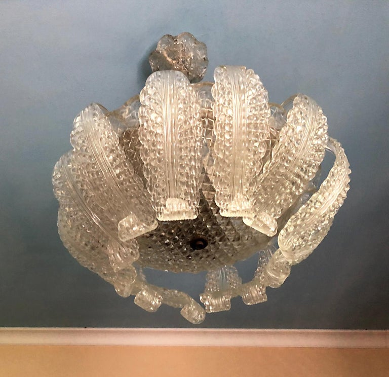 20th Century Italian Murano Glass Chandelier with 12 Leaves and Three Lights For Sale 3