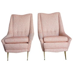 20th Italian Pair of Pink Style Lounge Chairs Marco Zanusso