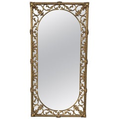 20th Italian Rectangular Brass Foliate Wall Mirror or Console Mirror