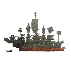 20th Jade Sculpture with Nine Dragon Boat 3 Foots Large