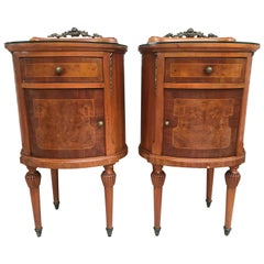 20th Louis XVI Style Marquetry Nightstands with Metal and Mirror Crest, a Pair