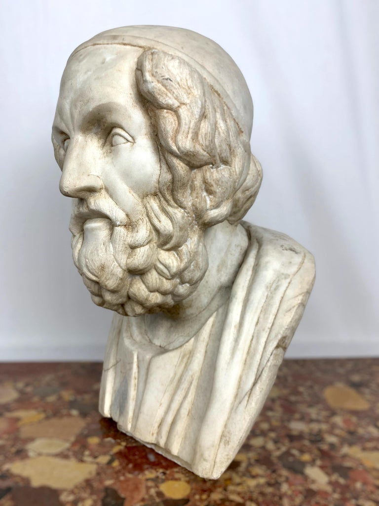 Italian 20th Century Marble Bust of Ancient Greek Poet Homer For Sale