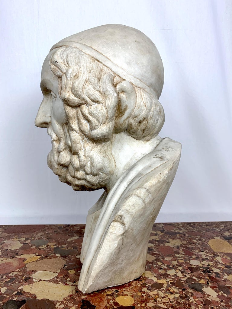 Hand-Carved 20th Century Marble Bust of Ancient Greek Poet Homer For Sale