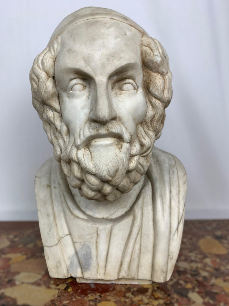 20th Century Marble Bust of Ancient Greek Poet Homer In Distressed Condition For Sale In Warminster , Wiltshire