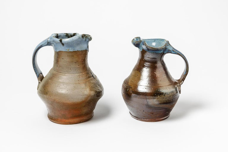 Mid-20th Century Brown and Blue Ceramic Pitcher by Jean Linard La Borne, 1975 For Sale 2