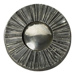 Mid-20th Century Decorative Silver Witch Mirror Metal Grey Color
