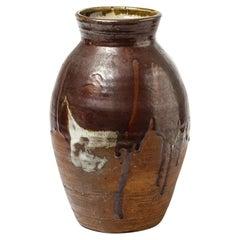 20th Mid Century La Borne Large Red and White Stoneware Ceramic Vase, 1960