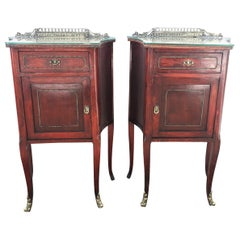 20th Mid-Century Modern Pair of Nightstands with Glass Top and Bronze Crest