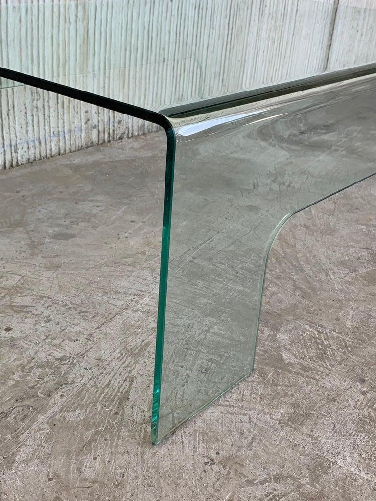 Rectangular Glass Coffee Table: 20th Century Mid-Century Modern Rectangular Curved Glass