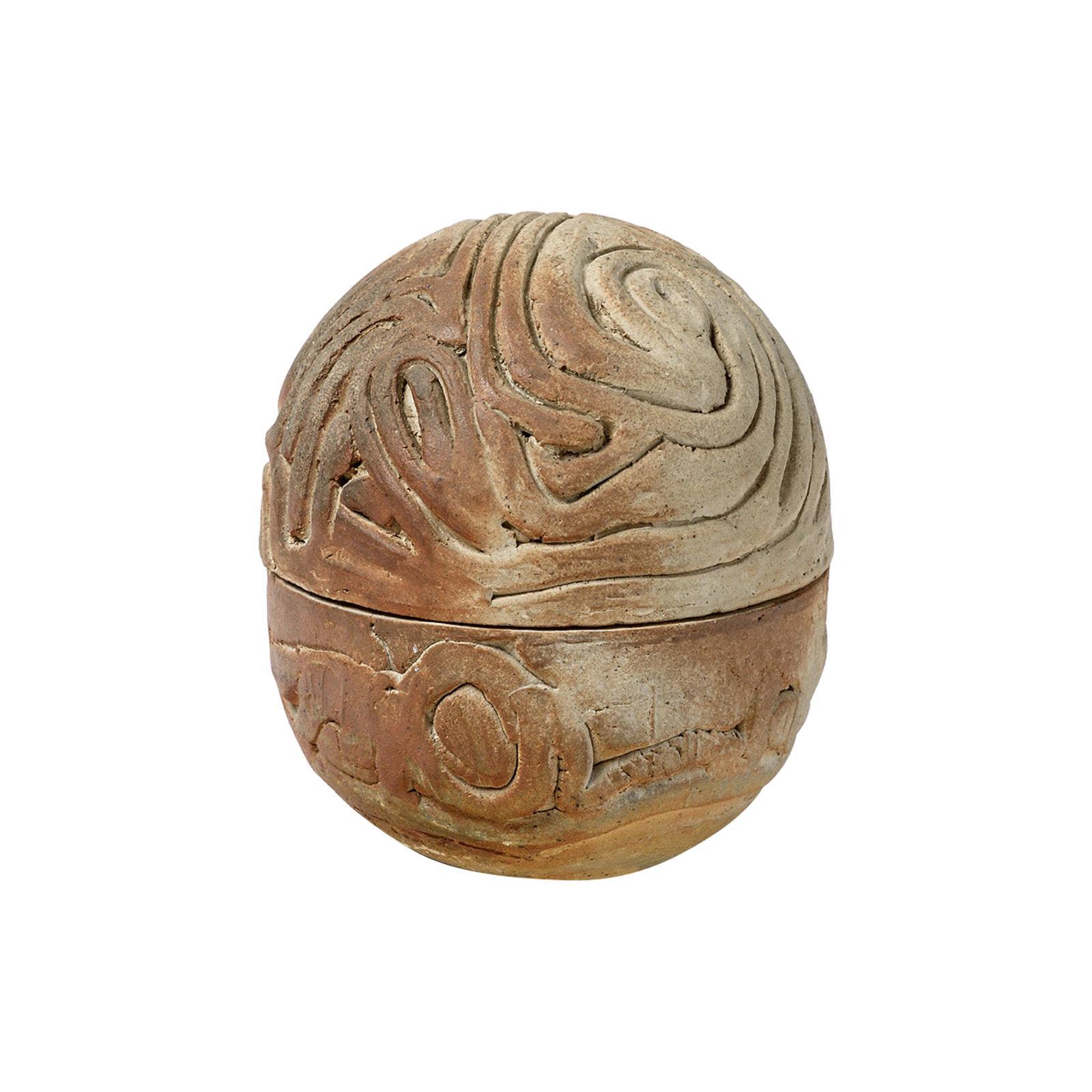 20th Midcentury Stoneware Ceramic Pottery Box La Borne circa 1970 Signed