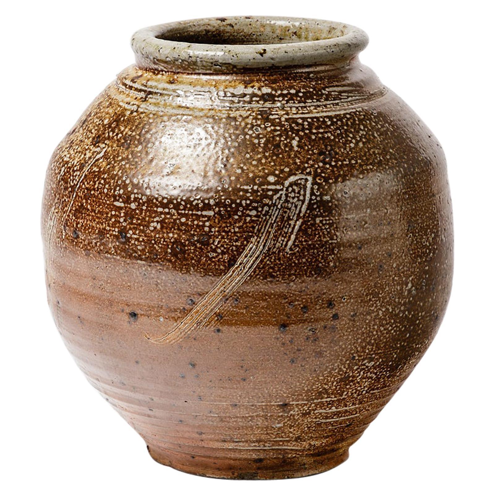 20th Century Midcentury Stoneware Ceramic Vase with Abstract Decoration
