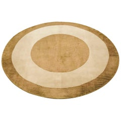 20th Midcentury Handmade Round Indian Carpet in Beige and Olive Green