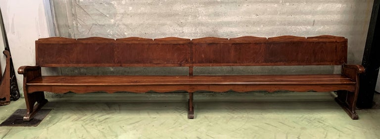 20th century Monumental church walnut bench
