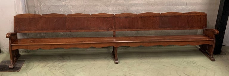 Baroque Revival 11.5´ 20th Century Monumental Church Walnut Bench Settee  For Sale