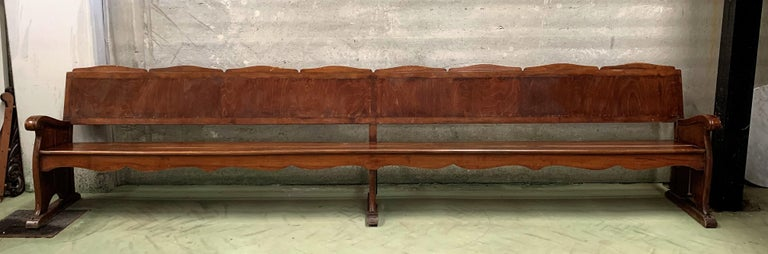 Spanish 11.5´ 20th Century Monumental Church Walnut Bench Settee  For Sale