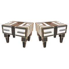 Pair of Mirrored & Brass Nightstands with One-Drawer in Black & White