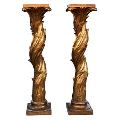 20th Pair Of Gilt Plaster Columns