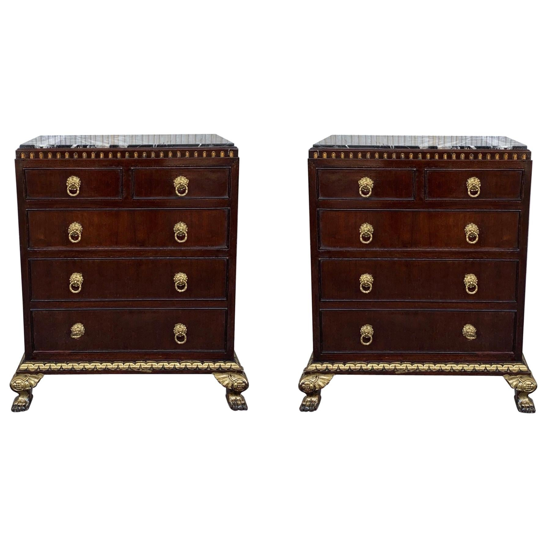 Pair of Hollywood Regency Style Nightstands with Drawers, Door and Marble