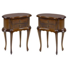 20th Century Pair of Mahogany Nightstands with Kidney Shape and Two Drawers