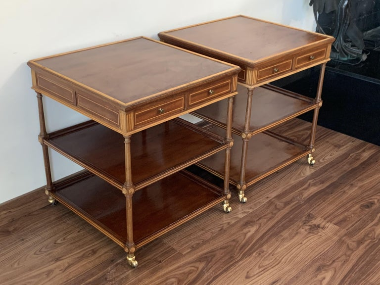 French Provincial 20th Pair of Side or Nightstands Tables on Wheels with Two Drawers & Two Shelves For Sale