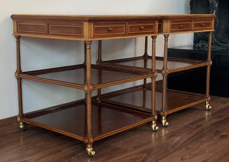 French 20th Pair of Side or Nightstands Tables on Wheels with Two Drawers & Two Shelves For Sale