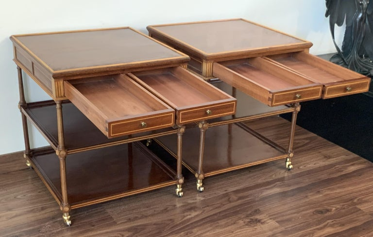 20th Pair of Side or Nightstands Tables on Wheels with Two Drawers & Two Shelves In Good Condition For Sale In Miami, FL