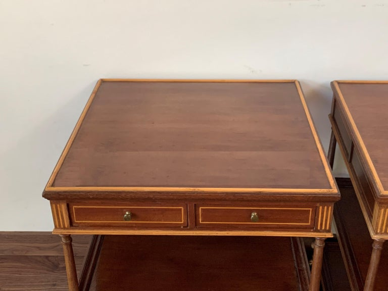 20th Century 20th Pair of Side or Nightstands Tables on Wheels with Two Drawers & Two Shelves For Sale