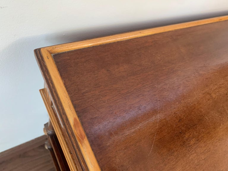Wood 20th Pair of Side or Nightstands Tables on Wheels with Two Drawers & Two Shelves For Sale