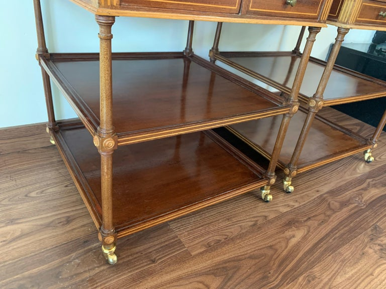 20th Pair of Side or Nightstands Tables on Wheels with Two Drawers & Two Shelves For Sale 2