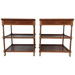 20th Pair of Side or Nightstands Tables on Wheels with Two Drawers & Two Shelves