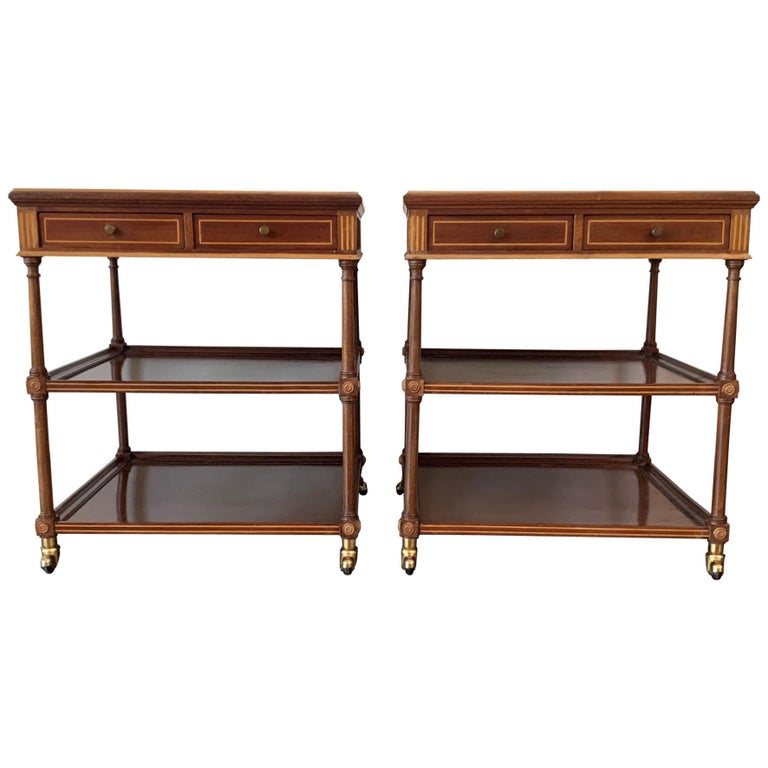 20th Pair of Side or Nightstands Tables on Wheels with Two Drawers & Two Shelves For Sale