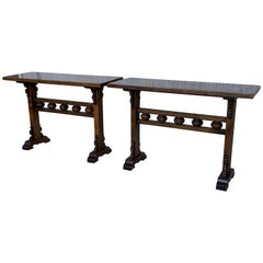 20th Century Pair of Spanish Carved Walnut Consoles Signed by Valenti