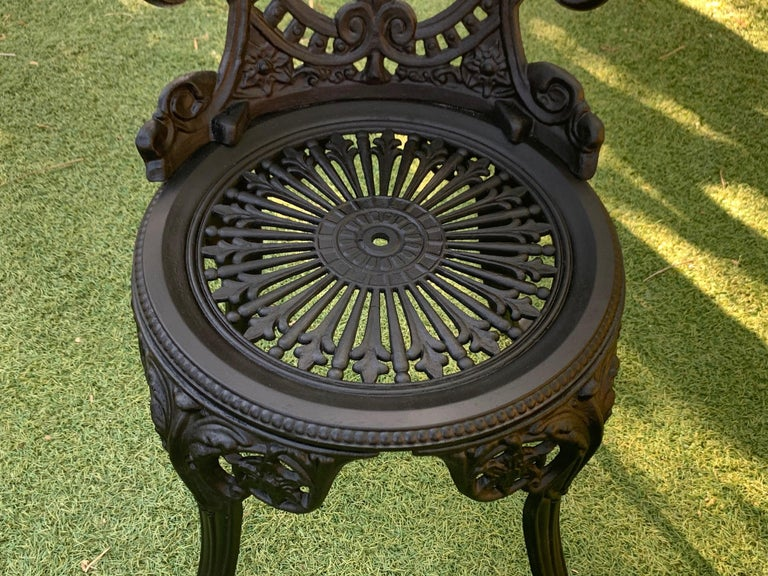20th Century Renaissance Revival Style Pair of Back Garden Chairs 3