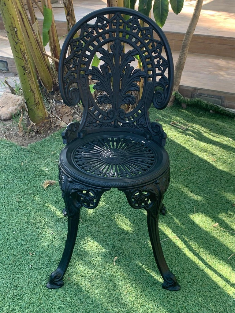 Cast 20th Century Renaissance Revival Style Pair of Back Garden Chairs