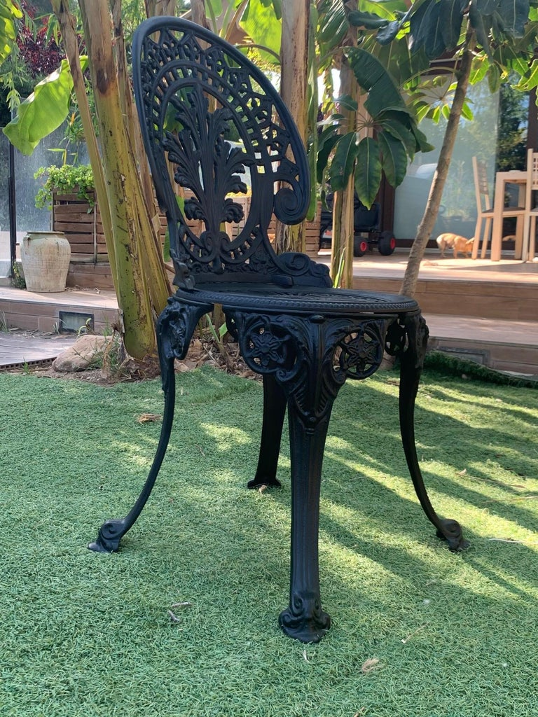 20th Century Renaissance Revival Style Pair of Back Garden Chairs In Good Condition In Miami, FL