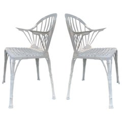 20th Renaissance Revival Style Pair of White Garden Chairs in Faux Bamboo