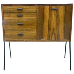 20th Century Rosewood and Black Iron Legs Swedish Small Chest of Drawers, 1950s