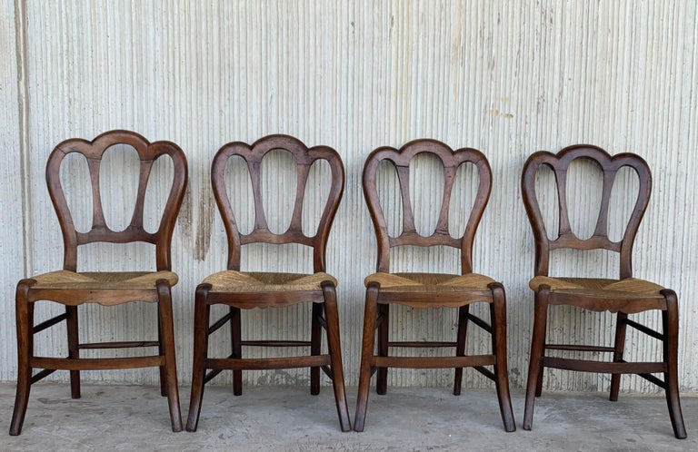 Spanish 20th Century Set of Four Victorian Chairs, Wood and Rattan For Sale