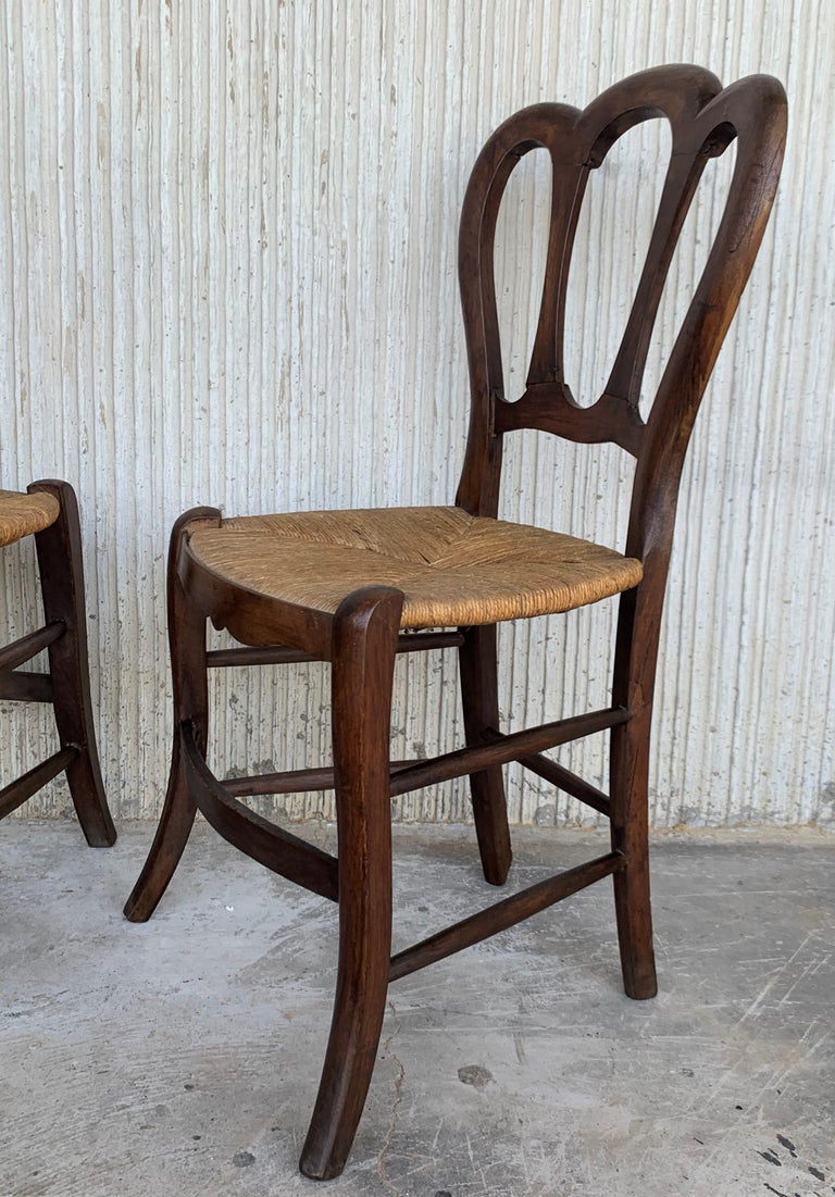 20th Century Set of Four Victorian Chairs, Wood and Rattan In Good Condition For Sale In Miami, FL