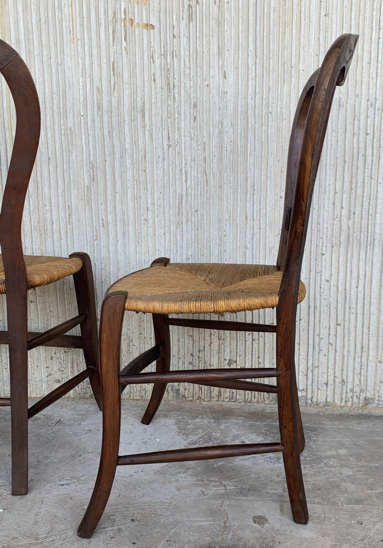 Cane 20th Century Set of Four Victorian Chairs, Wood and Rattan For Sale