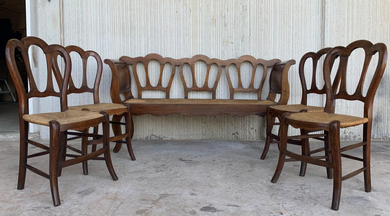 20th Century Set of Four Victorian Chairs, Wood and Rattan For Sale 4