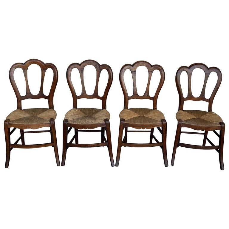20th Century Set of Four Victorian Chairs, Wood and Rattan For Sale